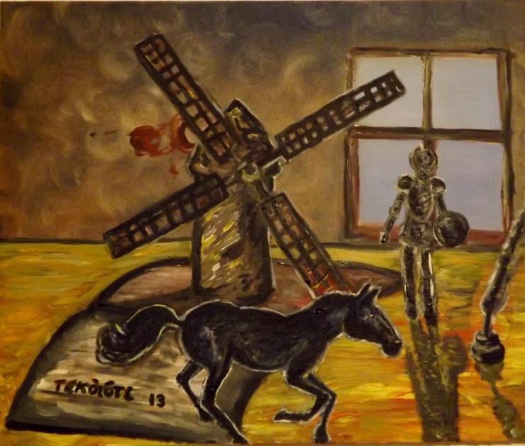 Rocinante galopando, mientras don Quijote observa desde la ventana de Cervantes después de derrotar a un molino.